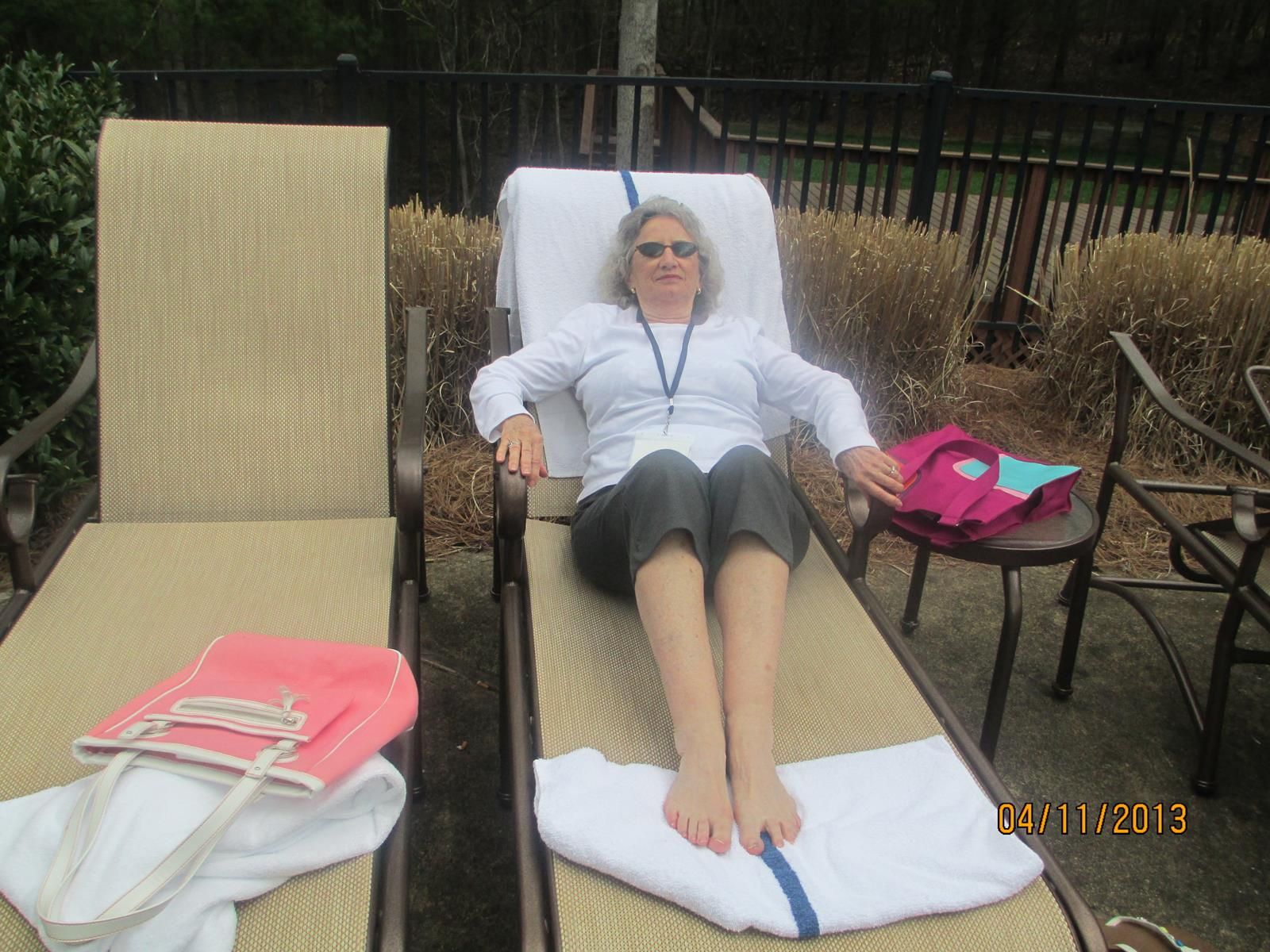 Sharon Lindberg (Music Critic) by the pool